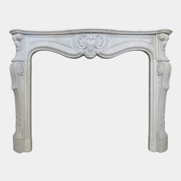 Antique Louis XV Carrara Marble Fireplace