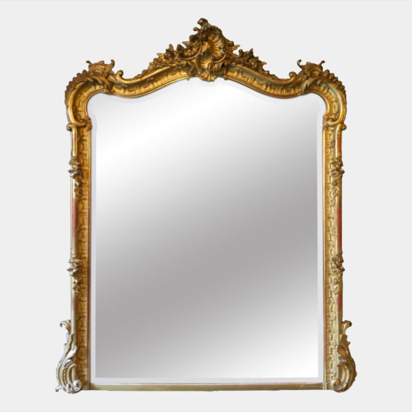 FRENCH ROCOCO GOLD GILT OVERMANTEL MIRROR