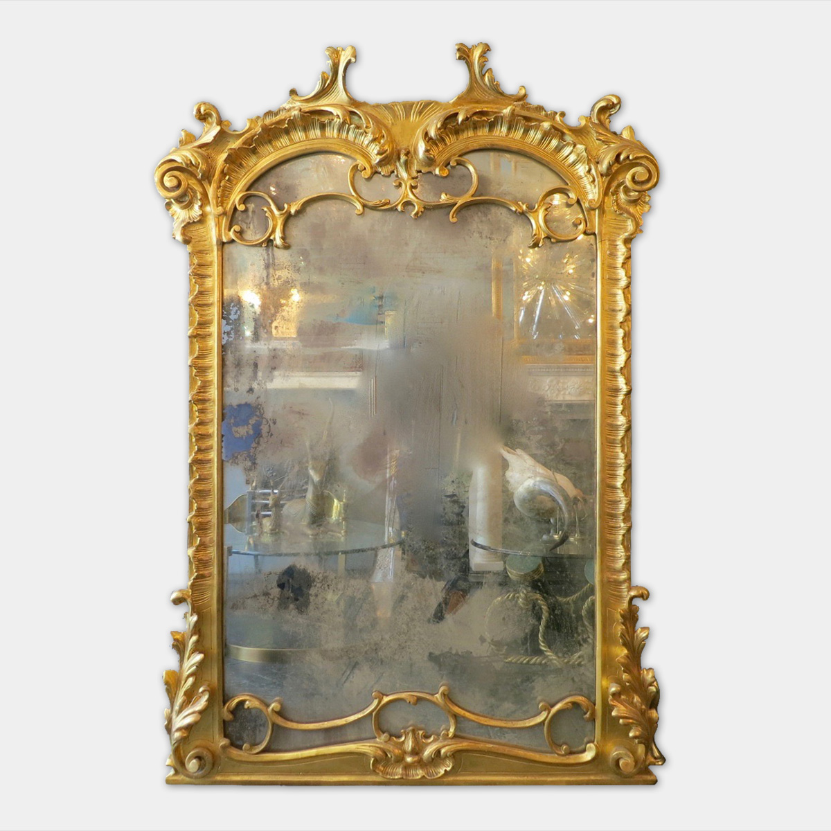 Antique Italian Baroque Style Over Mantel Mirror Marmorea London