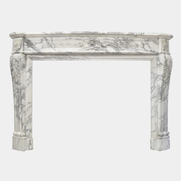 ANTIQUE LOUIS XVI STYLE ARABESCATO MARBLE FIREPLACE MANTEL