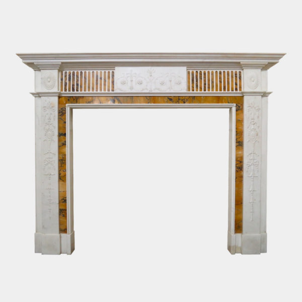 Antique Neoclassical Marble Fireplace