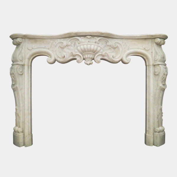 Antique Rococo Louis XV Marble Fireplace