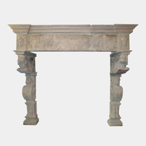 Monumental Antique Stone Renaissance Fireplace
