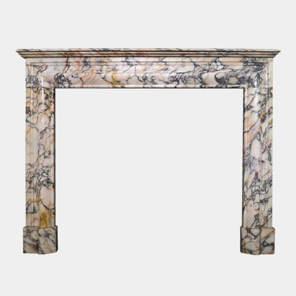 Antique French Bolection Fireplace In Breche Violette Marble