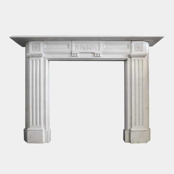 19th Century Statuary White Marble Fireplace
