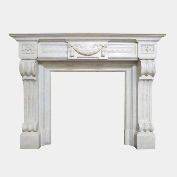 Antique French Louis XVI Style Marble Fireplace