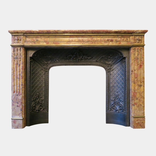 Antique Louis XVI Fireplace Mantel In Breche D'alep Marble