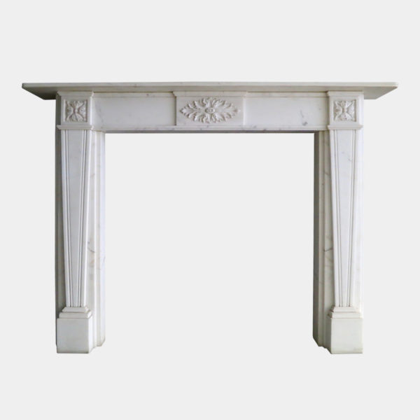 A Regency Style Statuary White Marble Fireplace