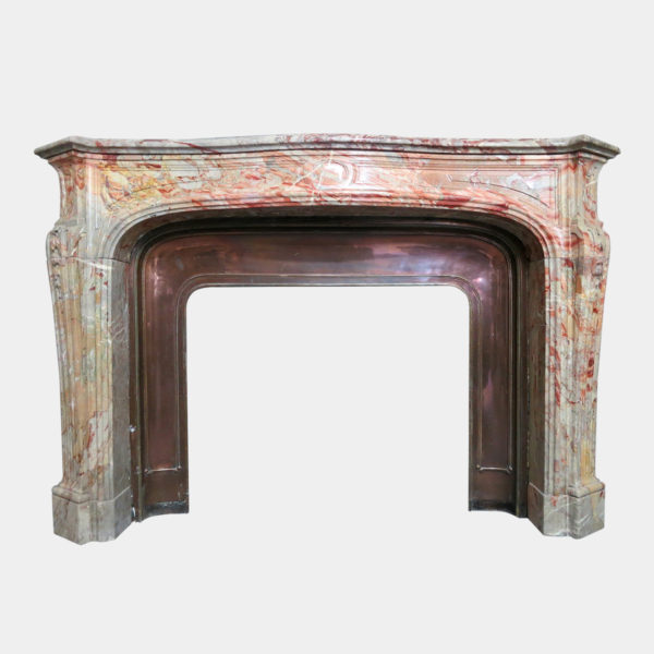 18th Century, French Louis XV Style Marble Fireplace