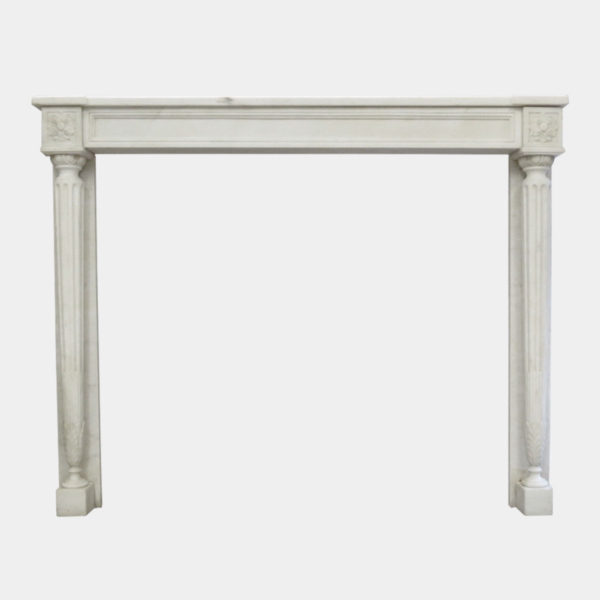 FRENCH LATE 19TH CENTURY WHITE MARBLE FIREPLACE MANTEL