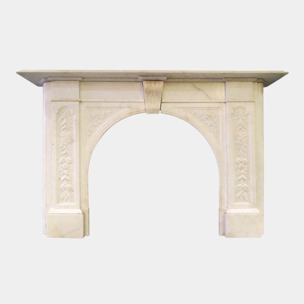 19th Century Arched Statuary White Marble Fireplace