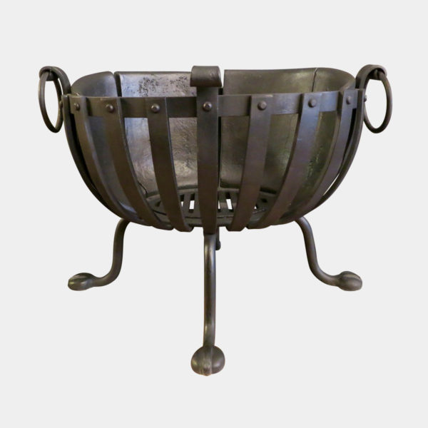 A Wrought Iron Fire Basket