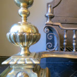 An Imposing Antique Brass and Steel Fire Grate