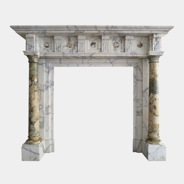 Antique Breche Marble Columned Fireplace