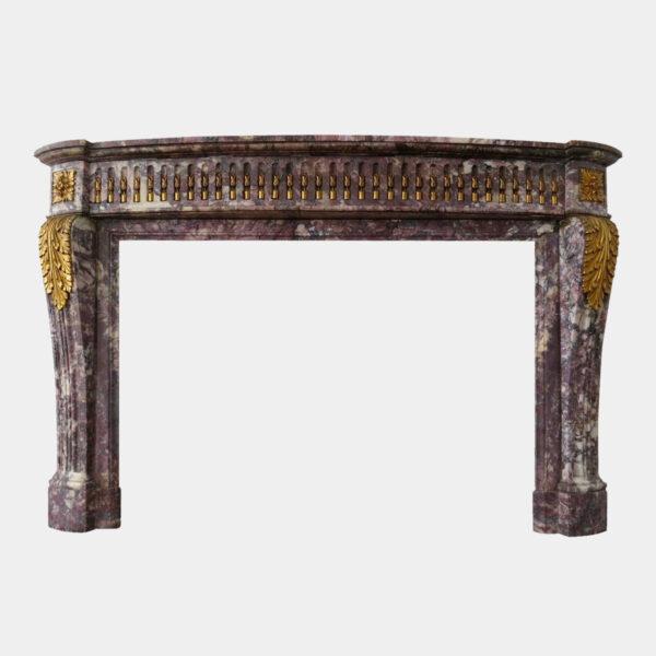Antique Louis Xvi Style Breche Violette Marble Fireplace