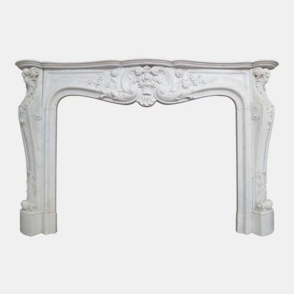 Large French Antique Louis XV Carrara Marble Fireplace