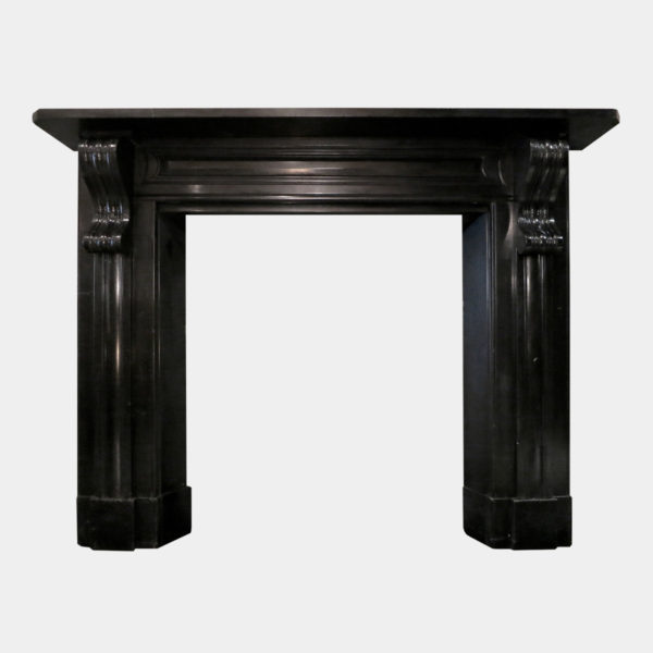 Antique Early 19th Century Irish Black Marble Fireplace