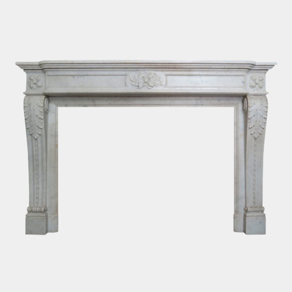 Antique French Louis XVI Style Carved Marble Fireplace