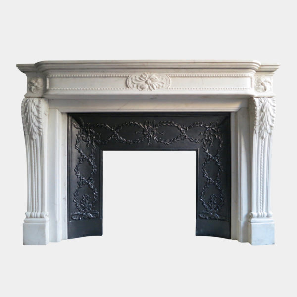 A large white marble louis xvi fireplace