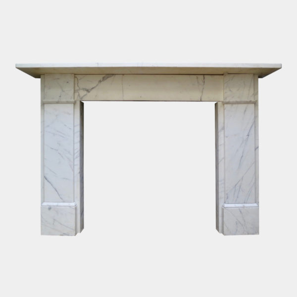 Pair Of 19th Century English Veined White Marble Fireplaces