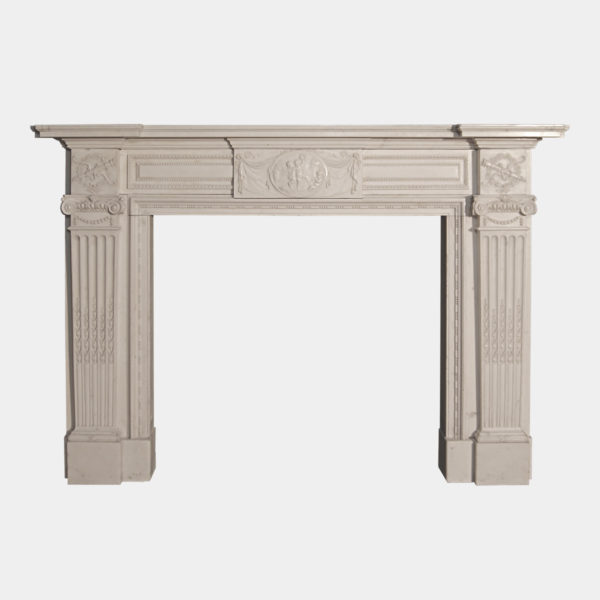 Antique 19th Century White Statuary Marble Fireplace Mantel