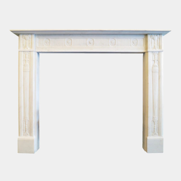 A Fine George III Statuary White Marble Fireplace