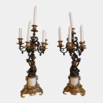 French 19th Century Patinated Bronze and Ormolu Candelabras