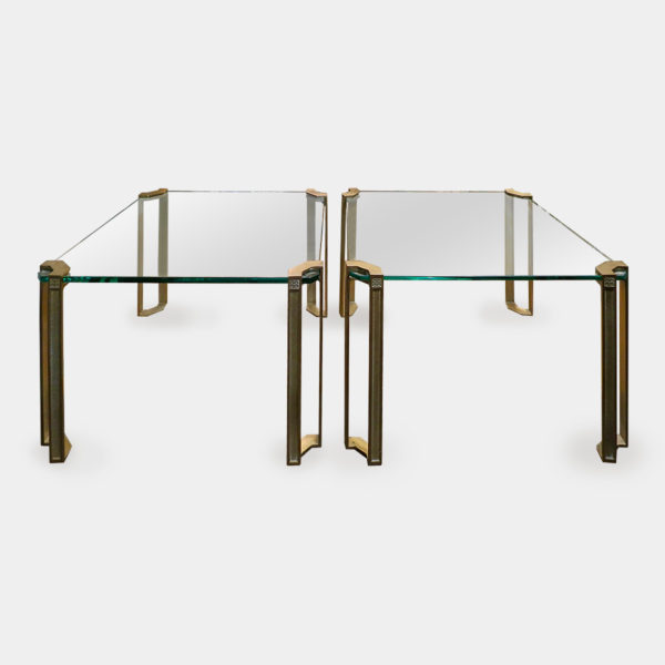 A Pair of Brass and Glass End Tables
