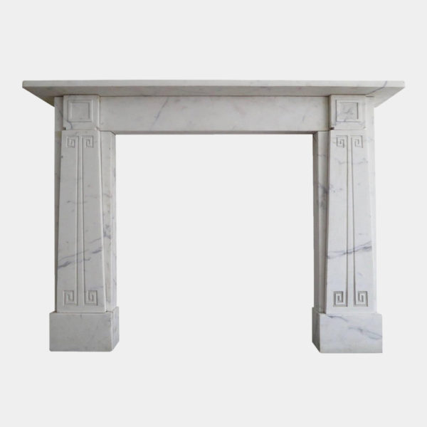 English Soane Style White Marble Fireplace